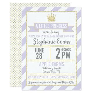 Invitation pourpre de princesse baby shower de