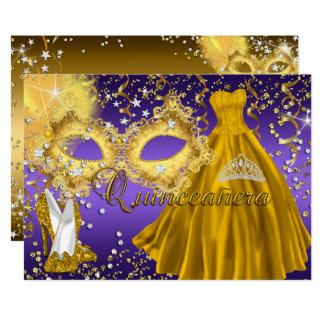 Invitation pourpre de Quinceanera de mascarade de