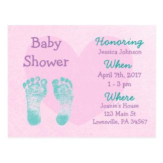 Invitation pourpre et rose de bébé de baby shower