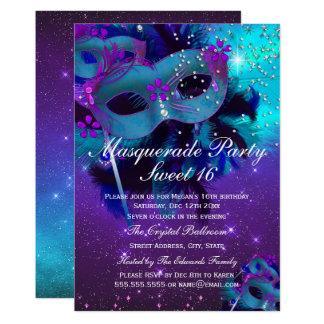 Invitation pourpre turquoise de mascarade de