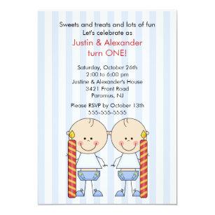 Invitations Faire Part Cartes Premier Anniversaire De Jumeaux