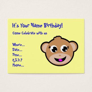 invitation principale d'anniversaire de singe