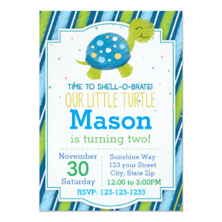 Invitation rayée d'anniversaire de tortue (bleue)
