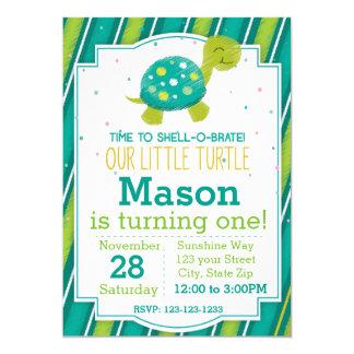 Invitation rayée d'anniversaire de tortue (vert)