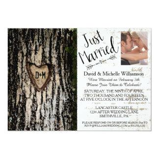 Invitation romantique rustique de photo de mariage