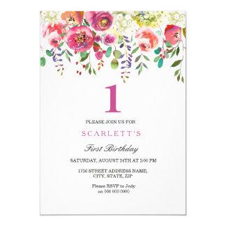 Invitation rose d'anniversaire de fille de fleurs