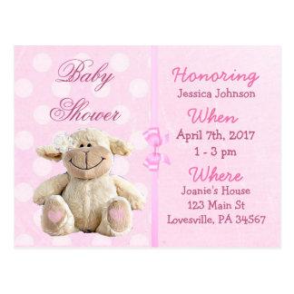 Invitation rose de baby shower d'agneau de bébé