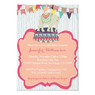 Invitation rose de baby shower de cirque