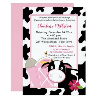 Invitation rose de baby shower de fille de vache