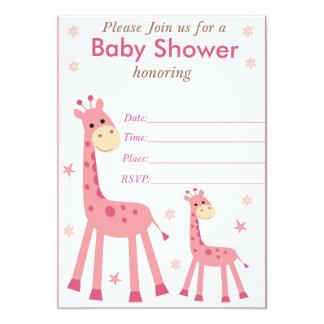 Invitation rose de baby shower de girafe