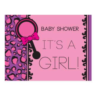 Invitation rose de baby shower de léopard