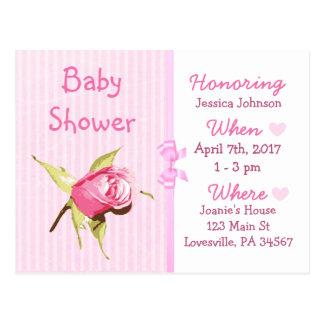 Invitation rose de baby shower de poupée de bébé