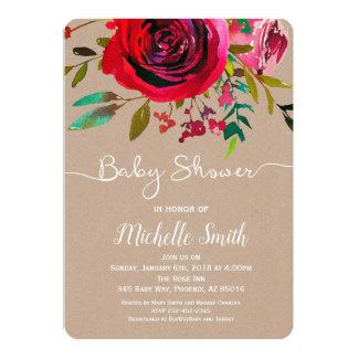 Invitation rose de baby shower, invitation de bébé