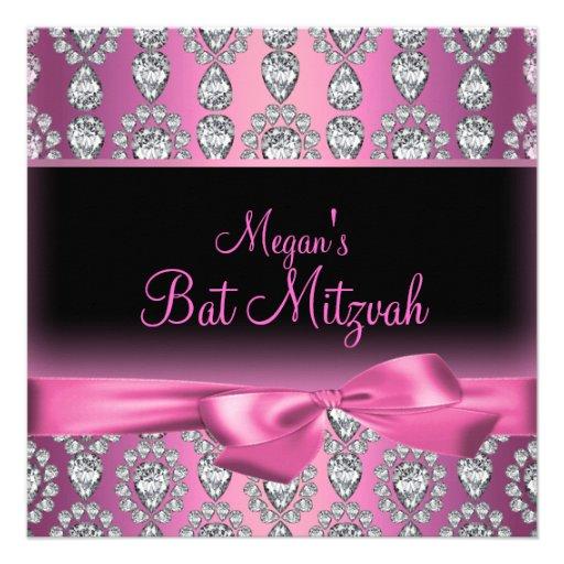 Invitation rose de bat mitzvah de diamant et d'arc