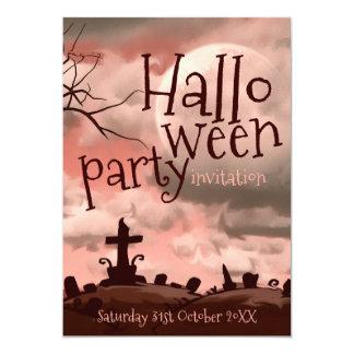 Invitation rose de cimetière de Halloween de ciel