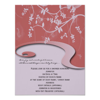 Invitation rose de corail de baby shower de jardin