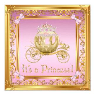 Invitation rose de fantaisie de princesse baby