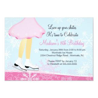 Invitation rose de fête d'anniversaire de patinage