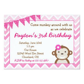 Invitation rose de fête d'anniversaire de singe de