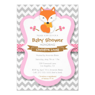 Invitation rose douce de baby shower de Fox