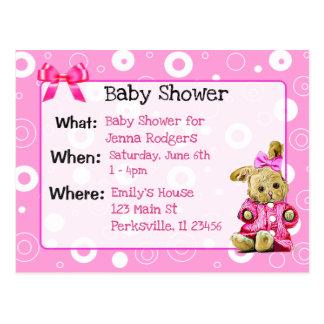 Invitation rose du baby shower de fille de lapin