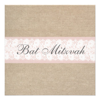 Invitation rose élégante de bat mitzvah de toile d