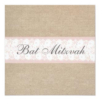 Invitation rose élégante de bat mitzvah de toile carton d'invitation  13,33 cm