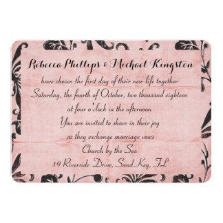 Invitation rose embrouillée