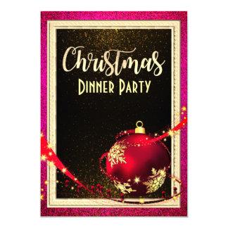 Invitation rose et d'or de dîner de Noël