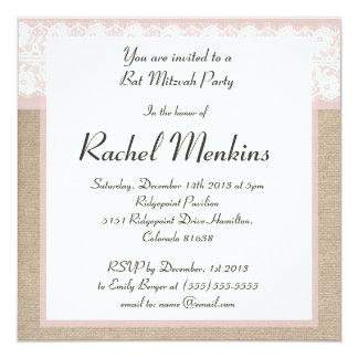 Invitation rose formelle de bat mitzvah de toile carton d'invitation  13,33 cm