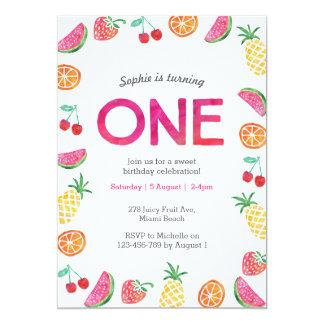 Invitation rose fruitée tropicale d'anniversaire