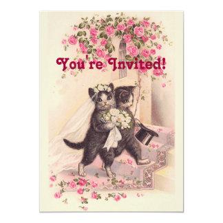 Invitation rose molle de chats vintages de mariage