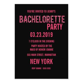 Invitation rose noir de Bachelorette de
