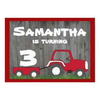 Invitation rouge d'anniversaire de tracteur : Âge