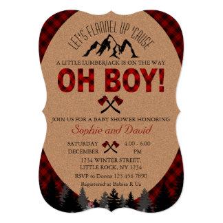 Invitation rouge de baby shower de Buffalo de