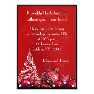 Invitation rouge de dîner d'arbre de Noël
