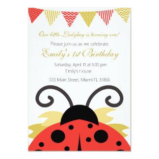 Invitation rouge de fête d'anniversaire de fille