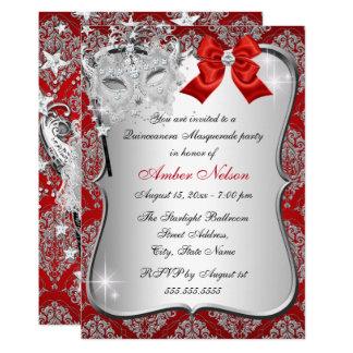 Invitation rouge de mascarade de Quinceanera de