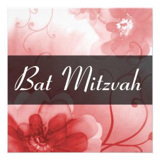 Invitation rouge et grise formelle de bat mitzvah