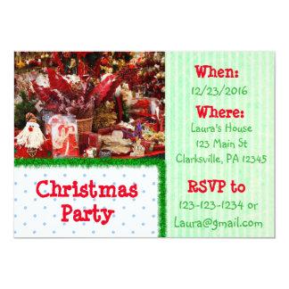 Invitation rouge et verte de fête de Noël de