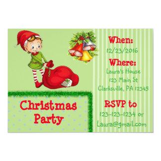 Invitation rouge et verte de fête de Noël d'Elf