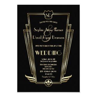 Invitation royal de mariage de noir de monogramme