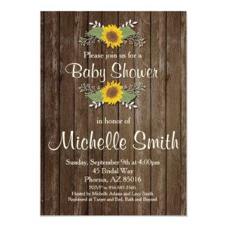 Invitation rustique de baby shower, tournesol,