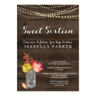 Invitation rustique de sweet sixteen d'automne