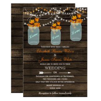 Invitation rustique en bois de mariage de automne