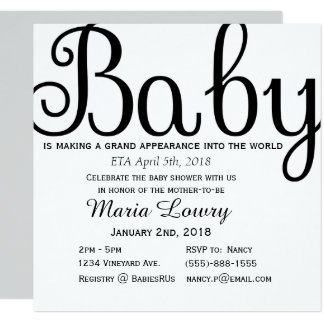 Invitation simple de baby shower de calligraphie