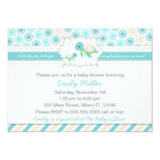 Invitation Teal unisexe de baby shower de tortue