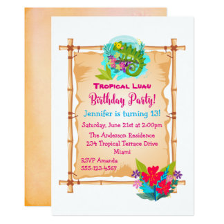 Invitation tropical d'anniversaire de Luau de