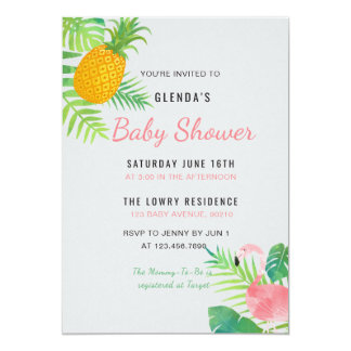 Invitation tropicale de baby shower de flamant
