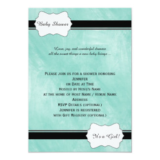 Invitation turquoise de baby shower d'aquarelle